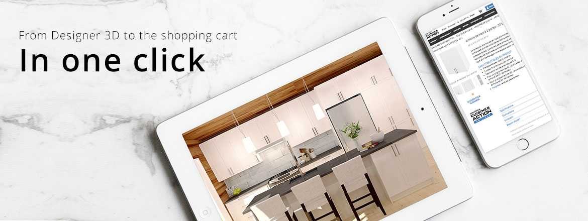 From Designer 3D to the shopping cart in one click!